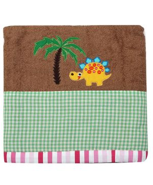 Princess & her Bunny Bath Towel Dino Embroidery - Brown