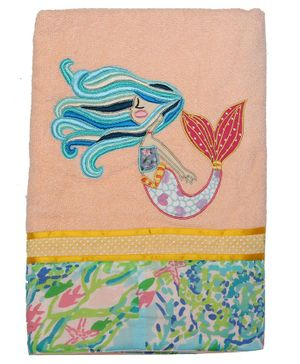 Princess & her Bunny Bath Towel Mermaid Embroidery - Cream