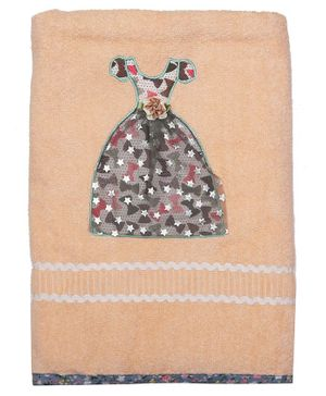 Princess & her Bunny Bath Towel Princess Dress Embroidery - Peach