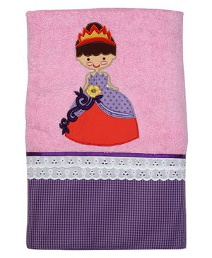 Princess & her Bunny Bath Towel Princess Embroidery - Pink