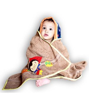 Princess & her Bunny Hooded Bath Towel Boy Embroidery - Brown