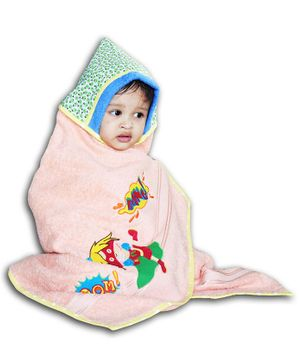Princess & Her Bunny Hooded Towel Wrap Super Girl Embroidered - Peach