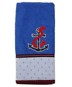 Princess & Her Bunny Hand Towel Wrap Anchor Embroidered - White
