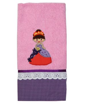 Princess & Her Bunny Cotton Hand Towel Doll Patch - Pink