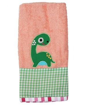 Princess & Her Bunny Dinosaur Embroidered Hand Towel- Peach