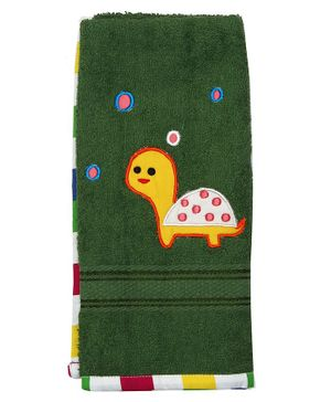 Princess & Her Bunny Tortoise  Embroidered Hand Towel- Green