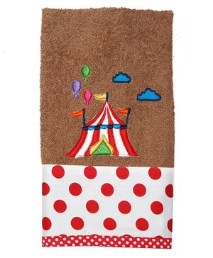 Princess & Her Bunny Tent Embroidered Hand Towel- Brown