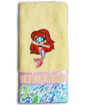 Princess & Her Bunny Mermaid Embroidered Hand Towel-Yellow