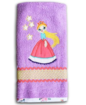 Princess & Her Bunny  Hand Towel Princess Embroidery - Purple