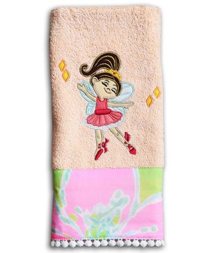 Princess & Her Bunny Hand Towel Ballerina With Wings Embroidered - Pink