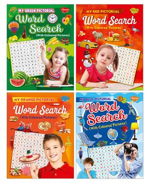 Sawan 4 Pictorial Word Search With Coloured Pictures Book - English