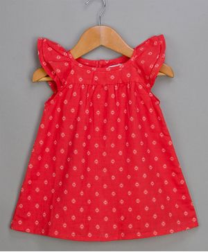 Young Birds Cap Sleeves Printed A Line Dress - Red