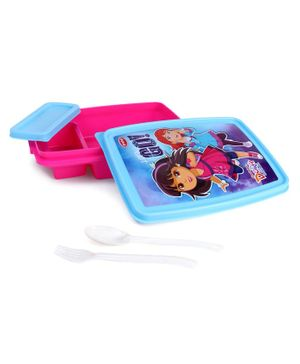 Dora & Friends Lunch Box With Fork & Spoon - Pink Blue