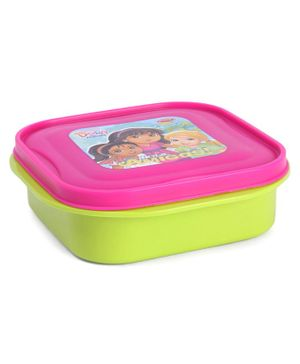Dora Lunch Box With With Small Container Spoon & Fork - Green Pink