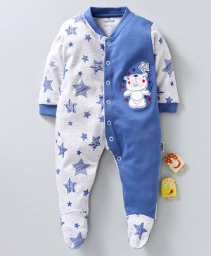 Child World Full Sleeves Footed Sleep Suit Star Print - Blue
