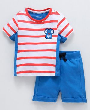 Babyoye Cotton Striped Tee With Shorts Robot Patch - Blue Red