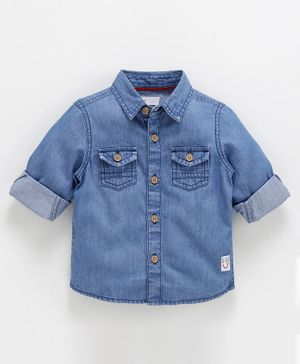 Babyoye Cotton Full Sleeves Denim Shirt - Light Blue