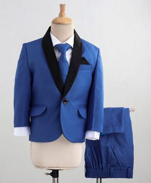 Babyoye 4 Piece Cotton Tuxedo Party Suit With Tie - Blue