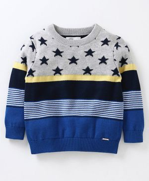 Babyoye Full Sleeves Sweater Star Pattern - Blue