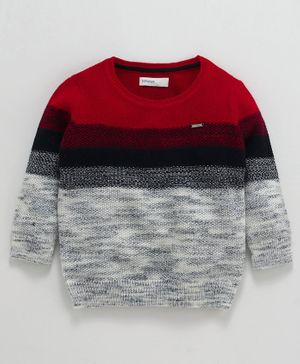 Babyoye Full Sleeves Striped Sweater - Red