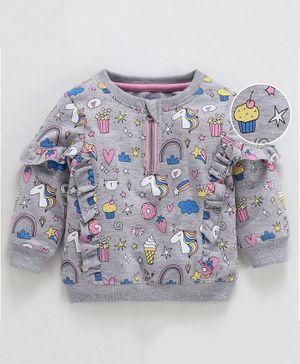 Babyoye Cotton Poly Full Sleeves Frilled Sweat Jacket Polka Unicorn Print - Grey