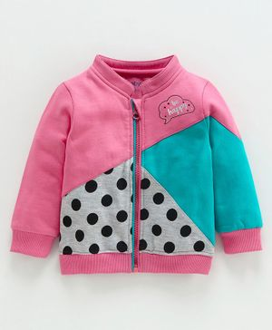 Babyoye Cotton Poly Full Sleeves Sweat Jacket Polka Dot Print - Pink
