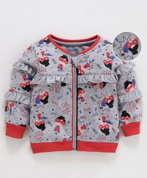 Babyoye Cotton Poly Full Sleeves Frilled Sweat Jacket Polka Super Girl Print - Grey