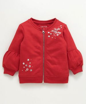 Babyoye Cotton Poly Full Sleeves Sweat Jacket Polka Glittery Stars Print - Red
