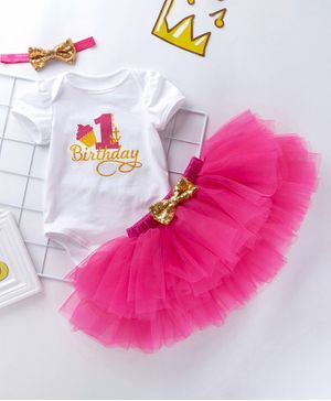 Pre Order - Awabox Short Sleeves 1st Birthday Print Onesie With Skirt & Sequinned Bow Adorned Headband - Dark Pink
