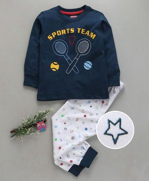 Babyhug Full Sleeves Night Suit Sports Team Print - Navy Blue