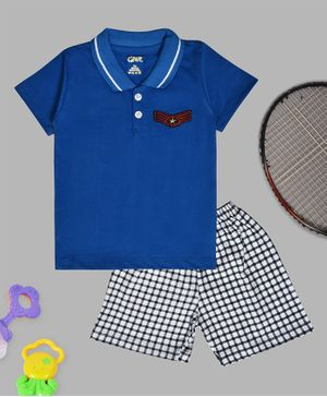 Kiwi Half Sleeves Tee & Checked Shorts Set - Blue