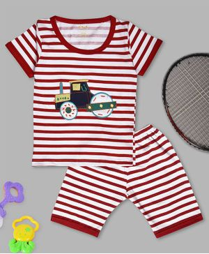 Kiwi Striped Half Sleeves Tee & Shorts Set - Red