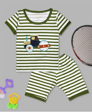 Kiwi Striped Half Sleeves Tee & Shorts Set - Green