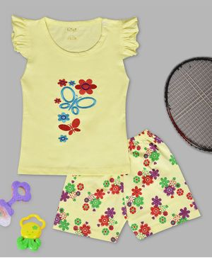 Kiwi Butterfly & Flower Embroidery Cap Sleeves Tee & Shorts Set - Yellow