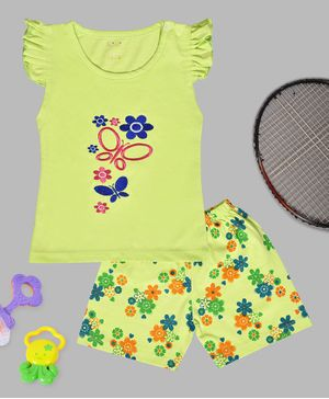 Kiwi Butterfly & Flower Embroidery Cap Sleeves Tee & Shorts Set - Green