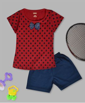 Kiwi Polka Dot Print Half Sleeves Tee & Shorts Set - Red