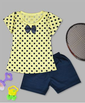 Kiwi Polka Dot Print Half Sleeves Tee & Shorts Set - Yellow