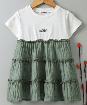 Meng Wa Half Sleeves Party Wear Frock - White & Green
