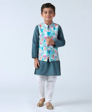 Babyoye Full Sleeves Kurta Pyjama Set With Jacket Fish Print - Teal blue