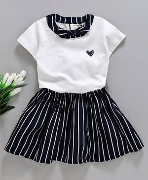 Meng Wa Half Sleeves Top With Striped Skirt - Navy Blue White