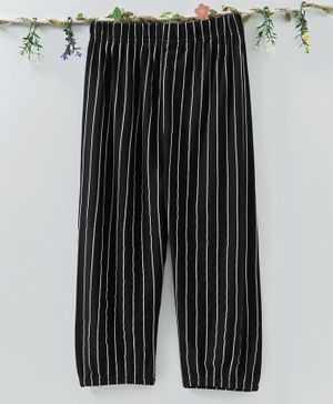 Meng Wa Striped Full Length Pants - Black