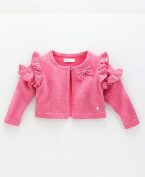 Babyoye Full Sleeves Shrug Bow Applique - Pink