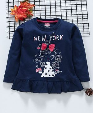 Babyhug Full Sleeves Tee Girl Print With Bow Motif - Navy Blue
