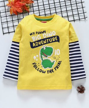 Babyhug Full Sleeves Tee Text Print - Yellow