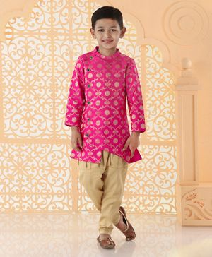 Babyoye Full Sleeves Sherwani With Pyjama Floral Embroidery - Pink