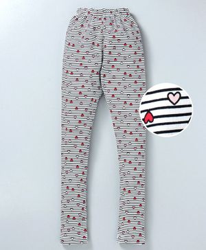 Tiara Hearts Print Full Length Stretchable Leggings - Red