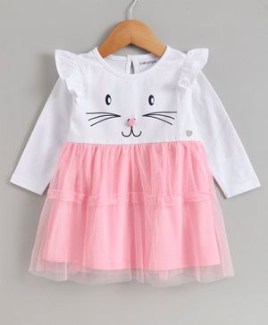 Babyoye Full Sleeves Cotton Lycra Frock Kitty Print - Pink White