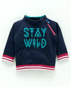 Babyoye Full Sleeves Cotton Sweatshirt Stay Wild Print - Navy