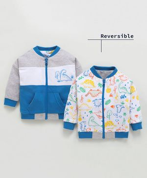 Babyoye Cotton Full Sleeves Reversible Sweat Jacket Dino Print - Royal Blue Grey