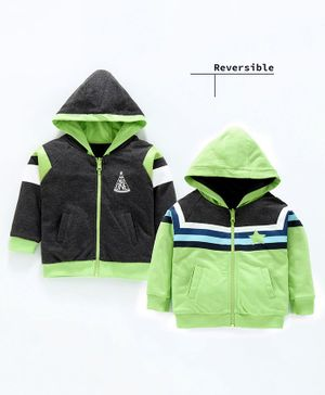 Babyoye Full Sleeves Cotton Hooded Reversible Sweat Jacket Striped & Printed - Green